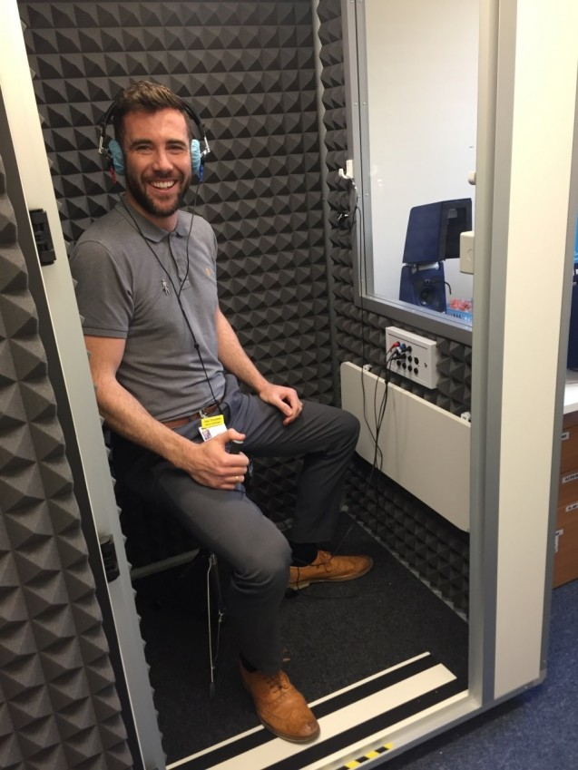 Alex in Audiology Booth